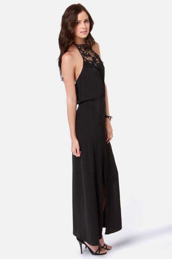 Fest Behavior Lace Black Maxi Dress at Lulus.com!
