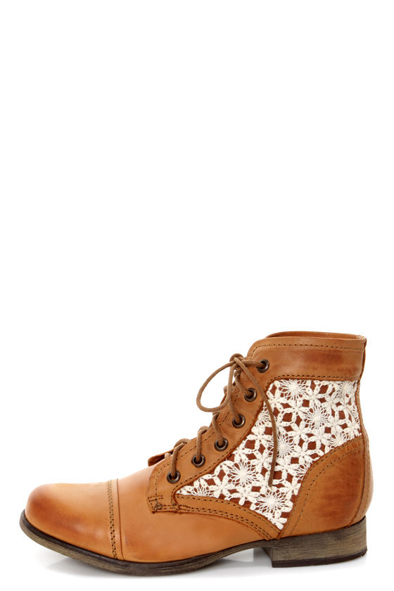 b5fe78eff57 Steve Madden Thundr-C Cognac Multi Crocheted Lace-Up Ankle Boots