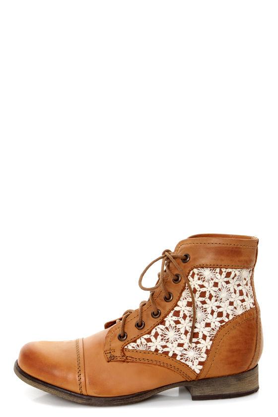 c45293e4511 Steve Madden Thundr-C Cognac Multi Crocheted Lace-Up Ankle Boots -  99.00