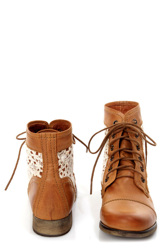 Steve Madden Thundr-C Cognac Multi Crocheted Lace-Up Ankle Boots ...