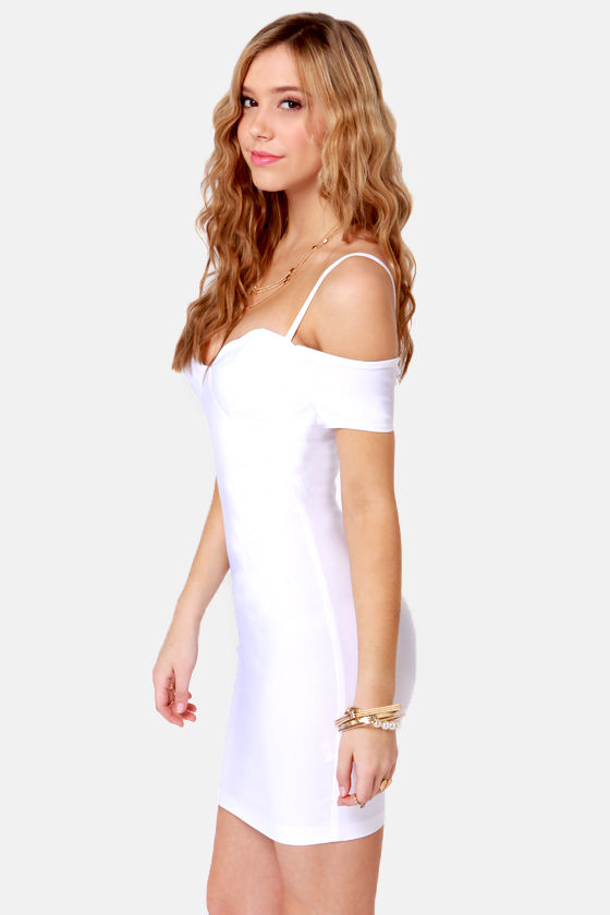 Strappily Ever After Off-the-Shoulder White Dress at Lulus.com!