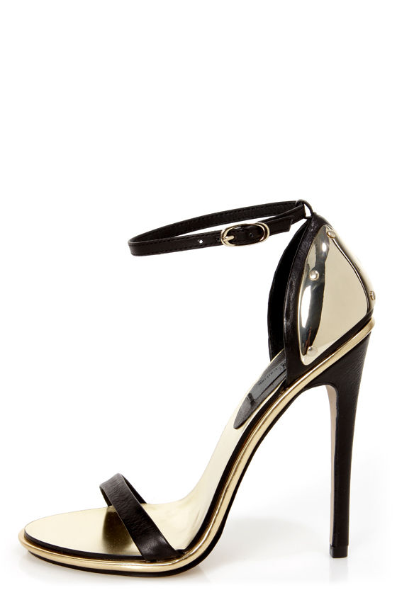 Mia Limited Edition Lenny Black & Gold Plated High Heel Sandals ...