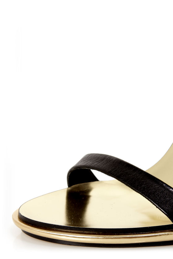 Mia Limited Edition Lenny Black & Gold Plated High Heel Sandals at Lulus.com!
