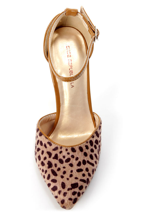 Shoe Republic LA York Tan Animal Print D'Orsay Pointed Pumps at Lulus.com!