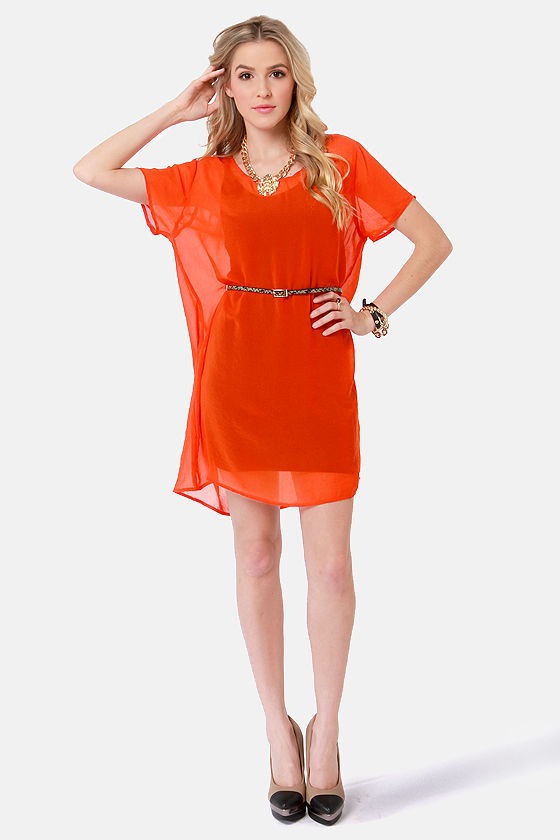 Obey Hudson Red Orange Belted Shift Dress at Lulus.com!