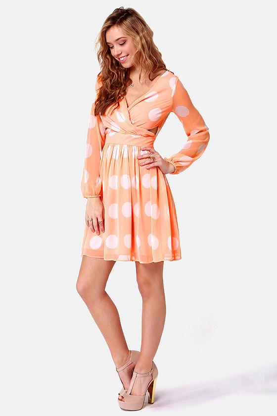 Polka Latte Peach Polka Dot Dress at Lulus.com!