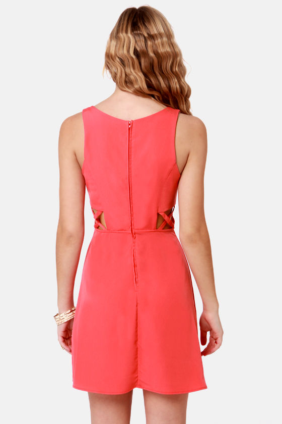 X-tra Credit Cutout Coral Dress at Lulus.com!