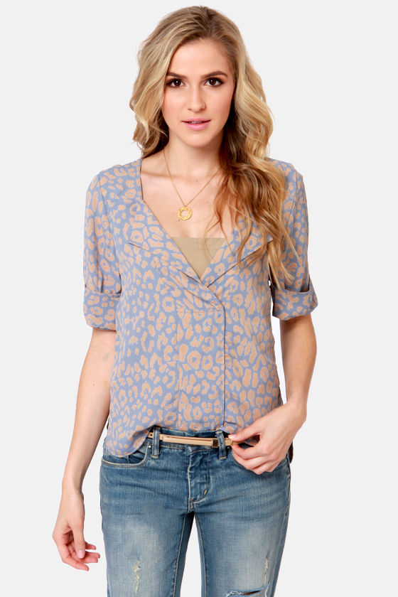 Lucy Love Pandora Slate Blue Print Top at Lulus.com!
