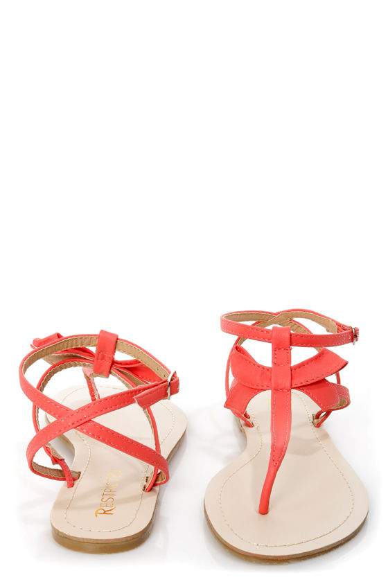 Restricted Jukebox Red Coral Strappy Thong Sandals at Lulus.com!