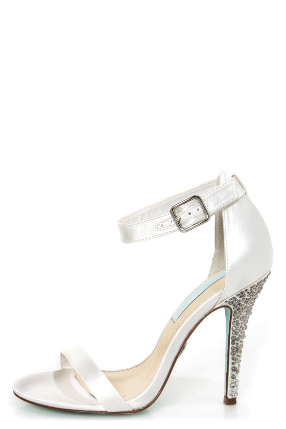 Betsey Johnson SB-Bells Ivory Satin Rhinestone Dress Sandals at Lulus.com!