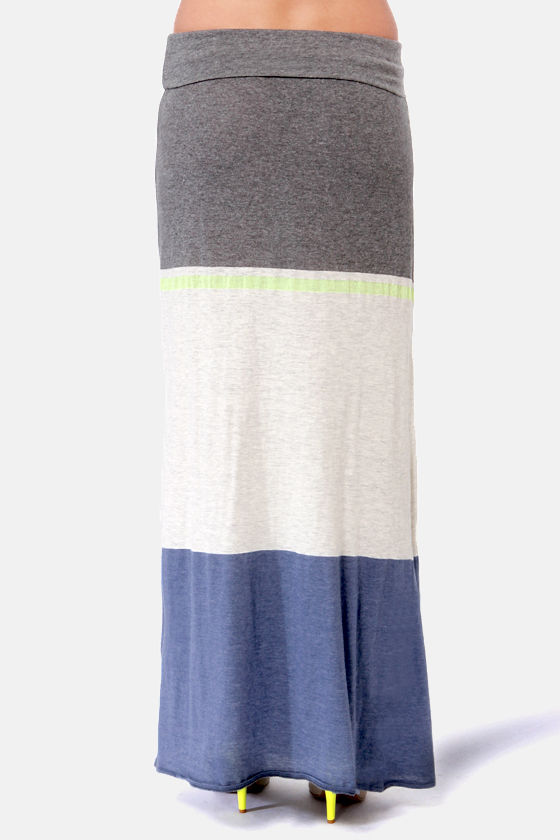 O'Neill Time Grey Color Block Maxi Skirt at Lulus.com!