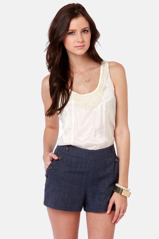 Cute Navy Blue Shorts - Linen Shorts - High-Waisted Shorts - $42.00
