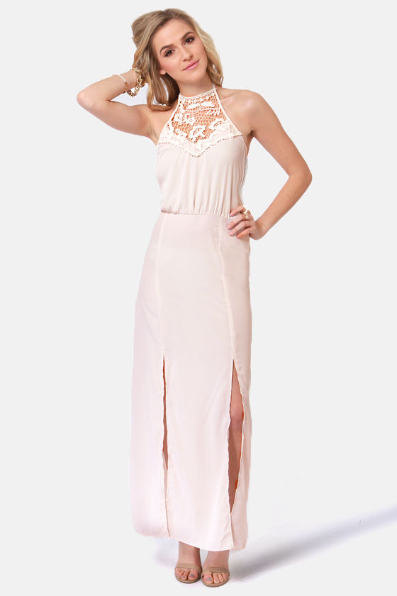 Fest Behavior Lace Cream Maxi Dress at Lulus.com!