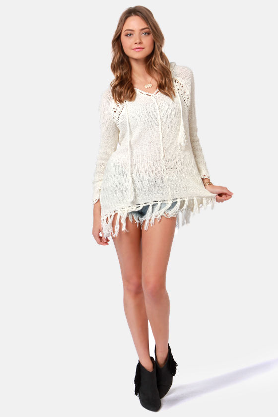 Sea of Cortez Ivory Hoodie Sweater at Lulus.com!