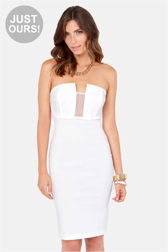 808df0550f LULUS Exclusive Hot Child in the Midi Strapless White Dress