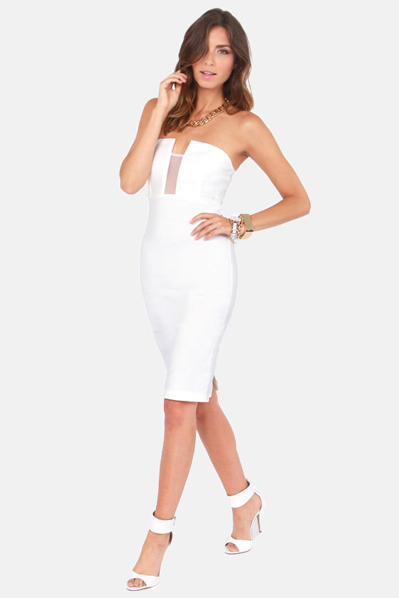 LULUS Exclusive Hot Child in the Midi Strapless White Dress