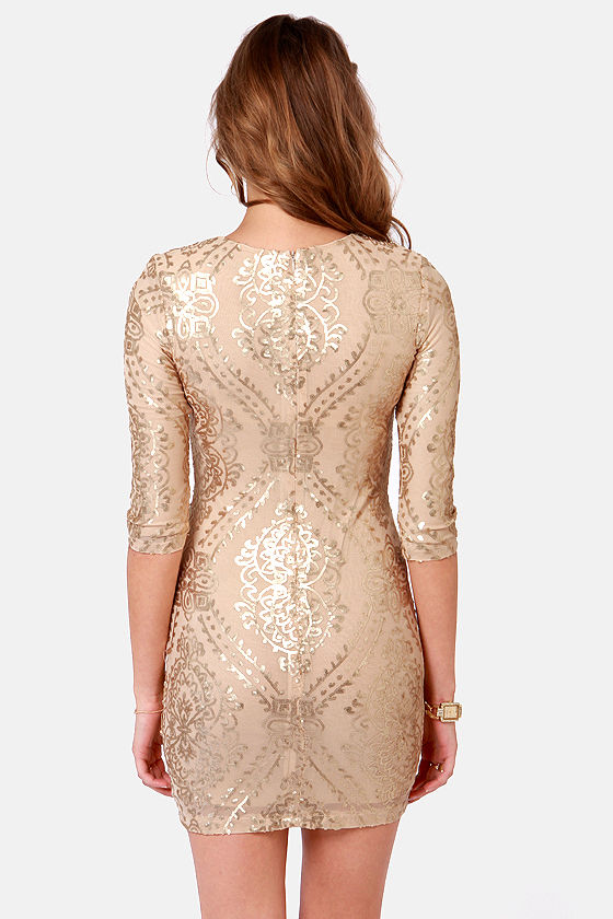TFNC Basma Gold Sequin Dress at Lulus.com!