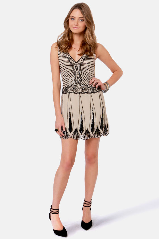 TFNC Stacy Beaded Beige Dress at Lulus.com!