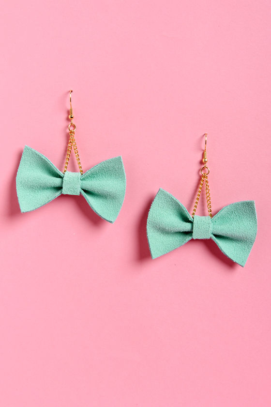 Claire Fong Zooey Mint Bow Earrings at Lulus.com!