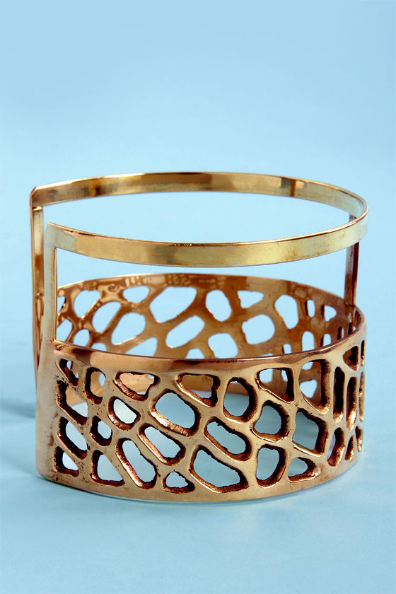 Obey Crossroads Golden Arm Cuff at Lulus.com!