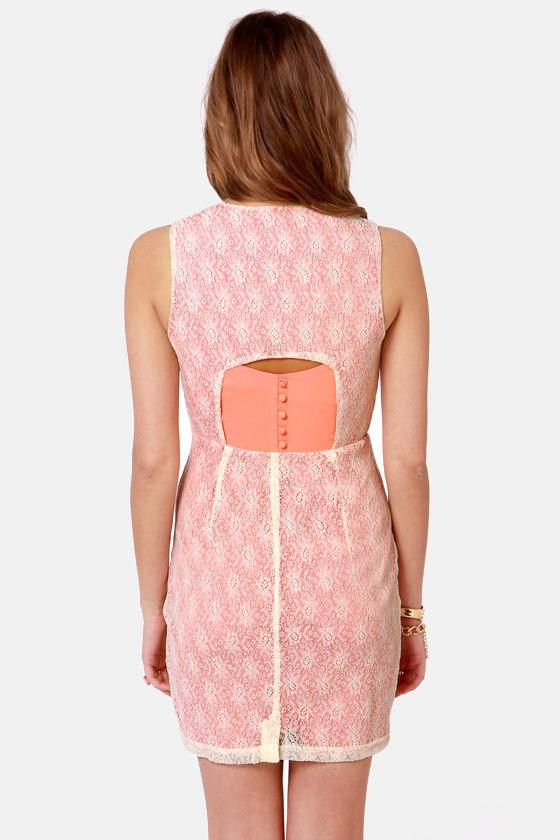 Georgia Peeks Peach Lace Dress at Lulus.com!
