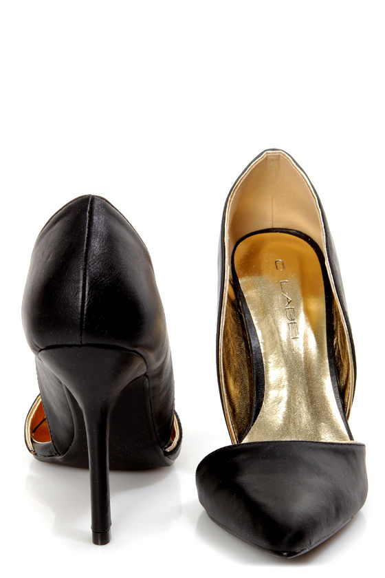 C Label Luxe 4 Black and Gold D'Orsay Pointed Pumps at Lulus.com!