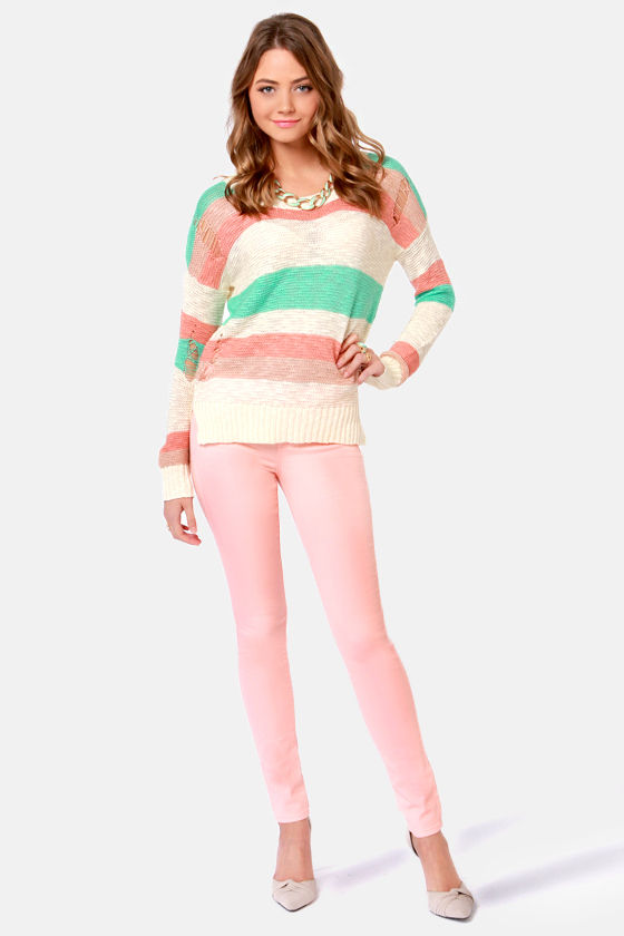 Ice Cream Trick Pastel Striped Sweater at Lulus.com!