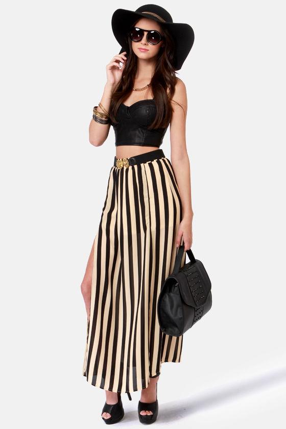 Cool Striped Skirt - Maxi Skirt - Double Slit Skirt - $45.00