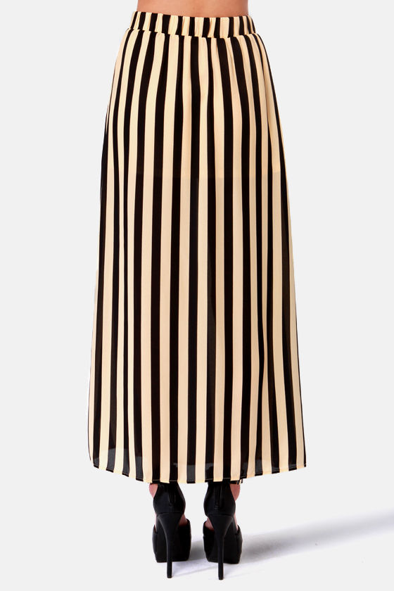 Riviera Romance Beige and Black Striped Maxi Skirt at Lulus.com!
