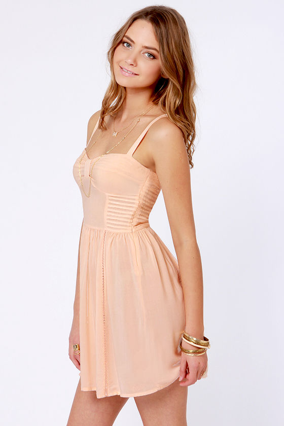 Insight Manifesto Peach Dress at Lulus.com!