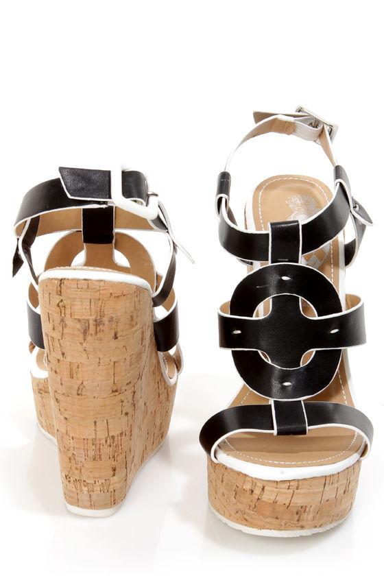 Elle 2 Black and White Sun Cross Platform Wedge Sandals at Lulus.com!