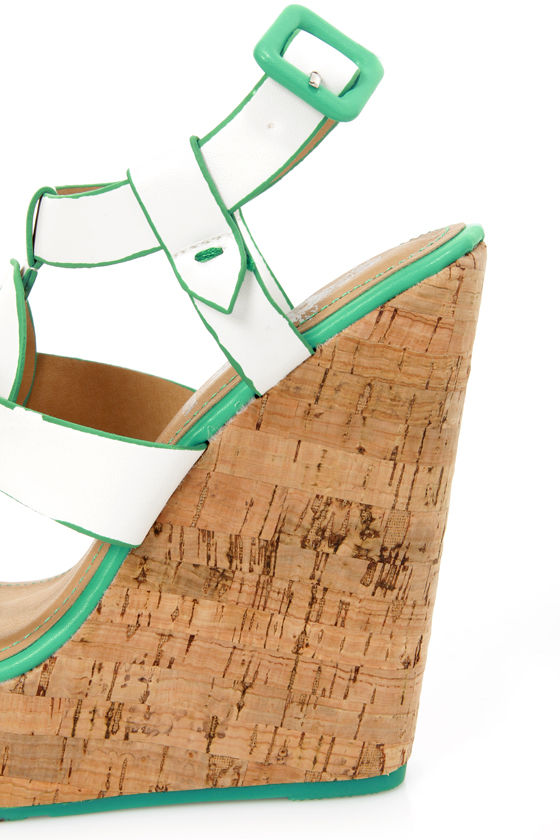 Elle 2 White and Teal Sun Cross Platform Wedge Sandals at Lulus.com!