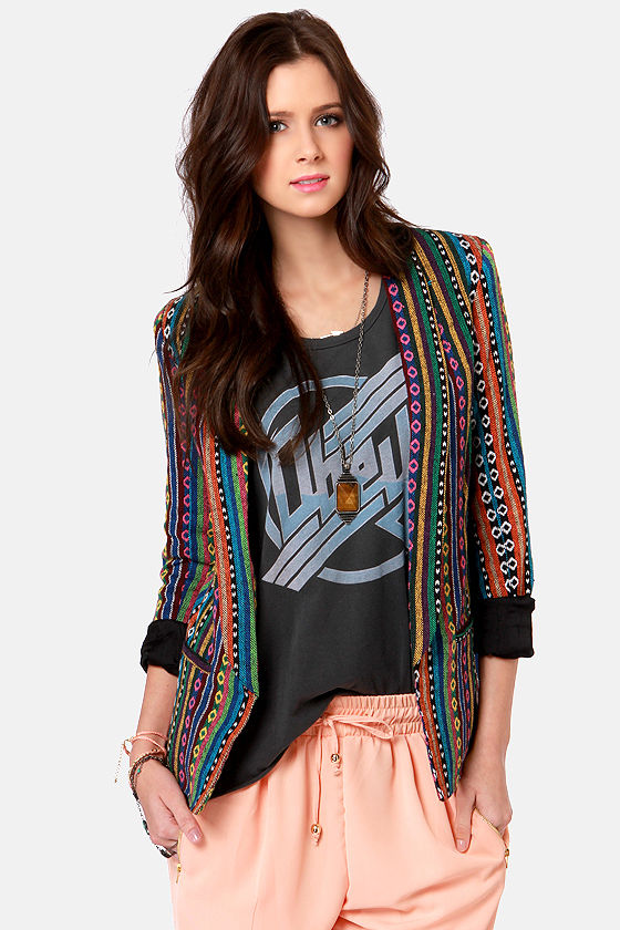 Gypsy Junkies Becca Tribal Print Blazer at Lulus.com!