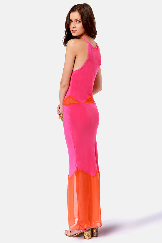 Gypsy Junkies Alexandria Orange and Fuchsia Silk Maxi Dress at Lulus.com!