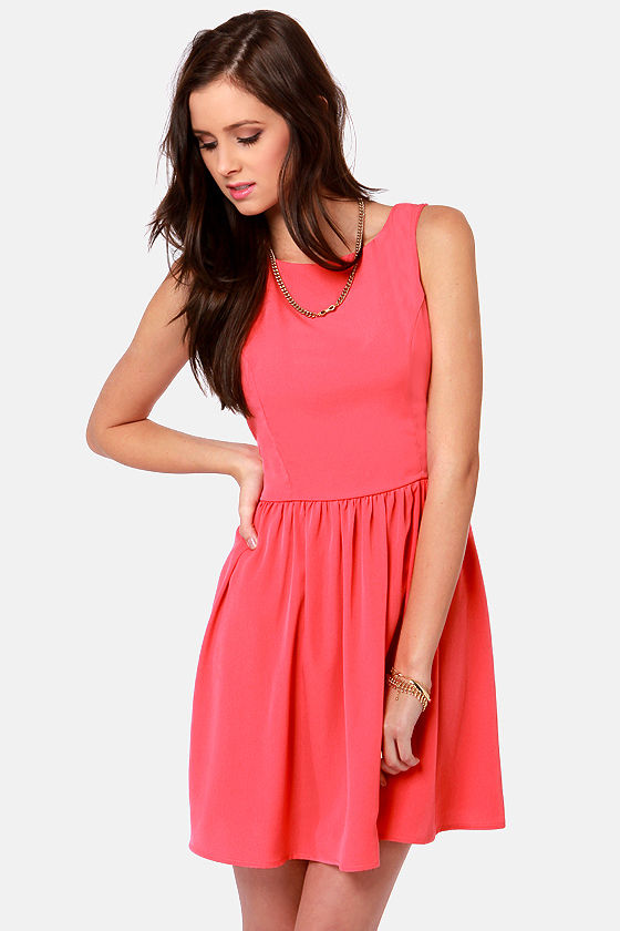 Countess of Cute Coral Pink Dress at Lulus.com!