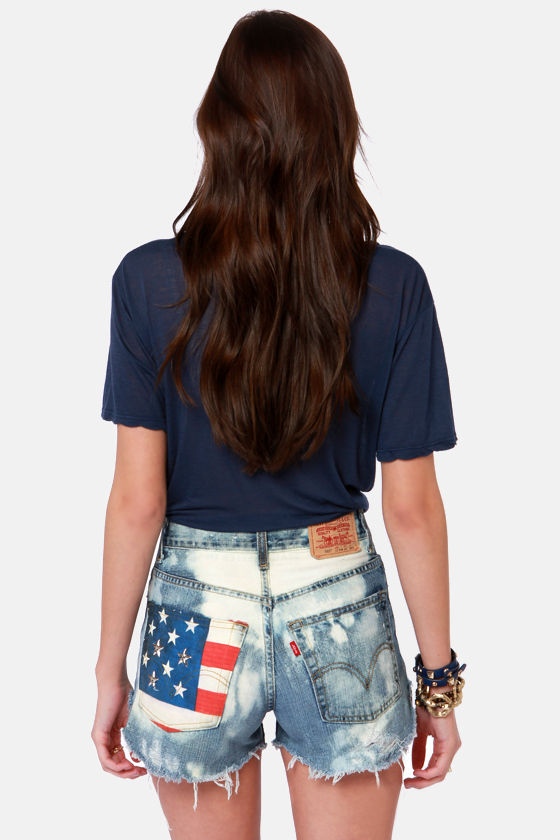 Laundry Room American Flag Studded Distressed Cutoffs at Lulus.com!