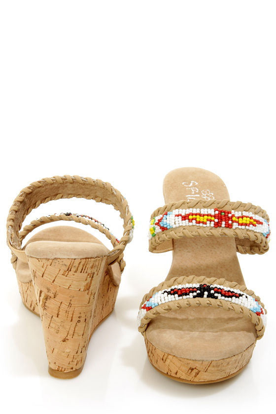 Sbicca Karson Natural Beige Leather Beaded Mule Wedges at Lulus.com!