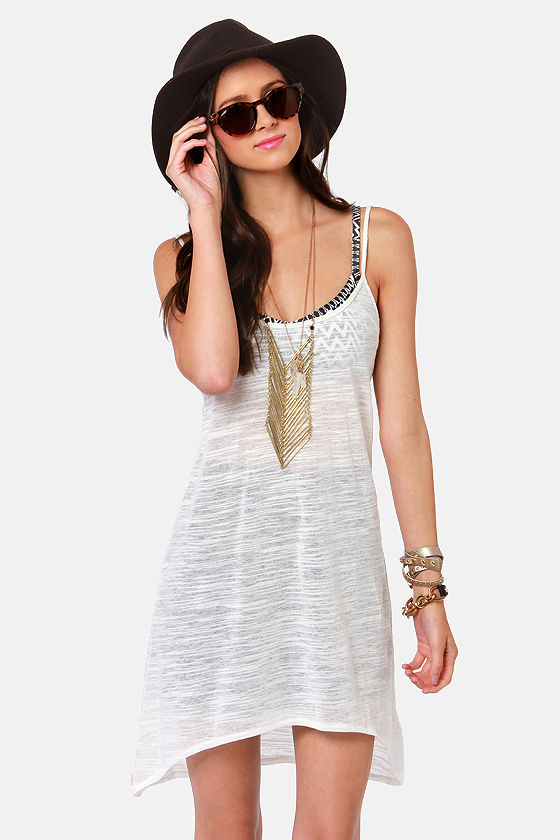 Insight Midi Stripe Sheer Ivory Dress at Lulus.com!