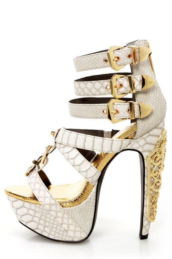c320f6603df Privileged Victory White Croc and Gold Belted Platform Heels