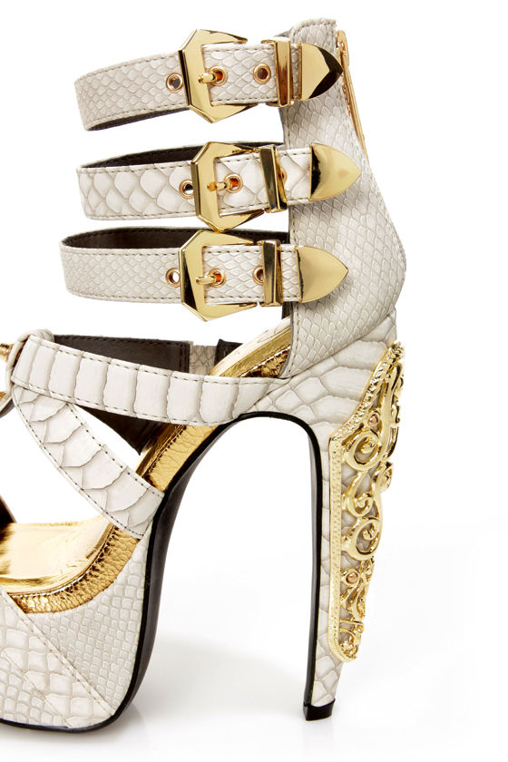 Privileged Victory White Croc and Gold Belted Platform Heels at Lulus.com!