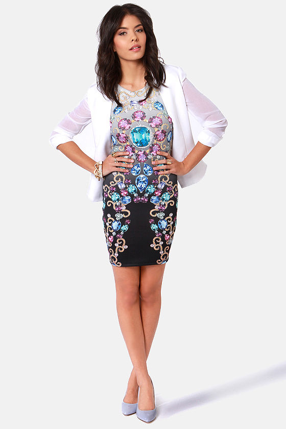 Gem 'n' I Jewel Print Dress at Lulus.com!