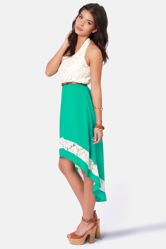 Creekside Path Teal and Cream Lace Dress at Lulus.com!