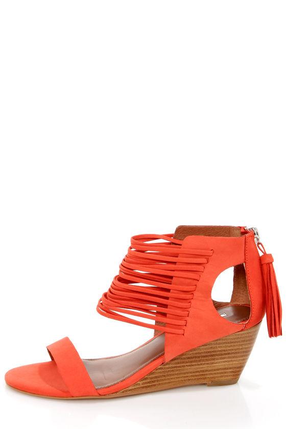 68761a9b040 Matiko Bryn II Papaya Strappy Ankle Cuff Wedge Sandals -  145.00