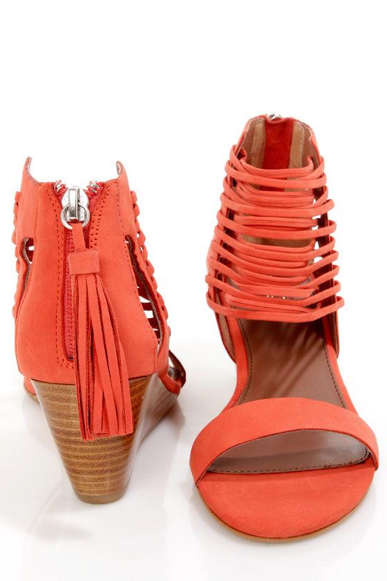 e810417dfd6 Matiko Bryn II Papaya Strappy Ankle Cuff Wedge Sandals -  145.00