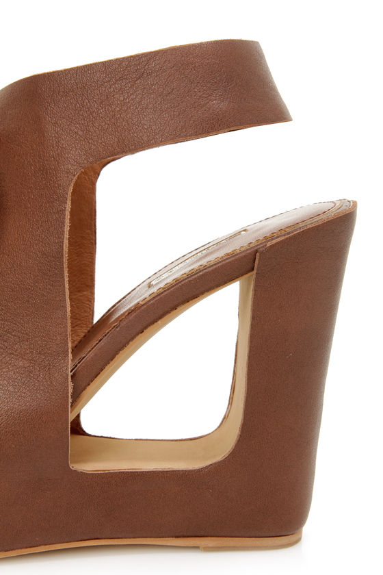 Matiko Elena Marrone Brown Lace-Up Cutout Wedge Sandals at Lulus.com!