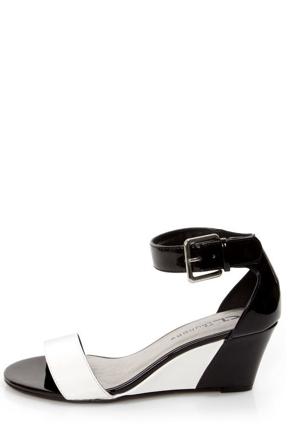 Total Thrill Black and White Wedge Sandals at Lulus.com!