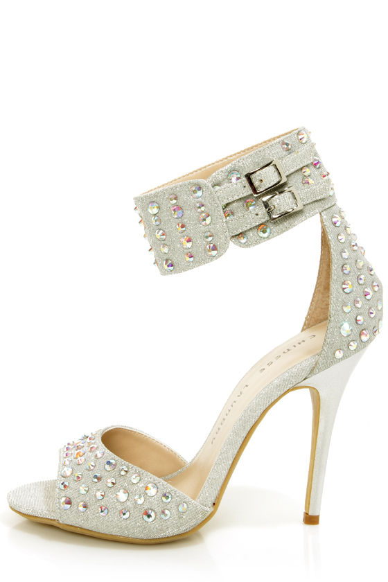 Chinese Laundry Jovial Silver Ankle Cuff Rhinestone High Heels at Lulus.com!