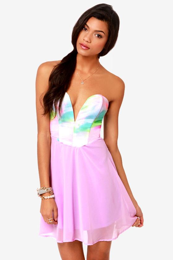 Sexy Strapless Dress - Lavender Dress - Print Dress - $41.00