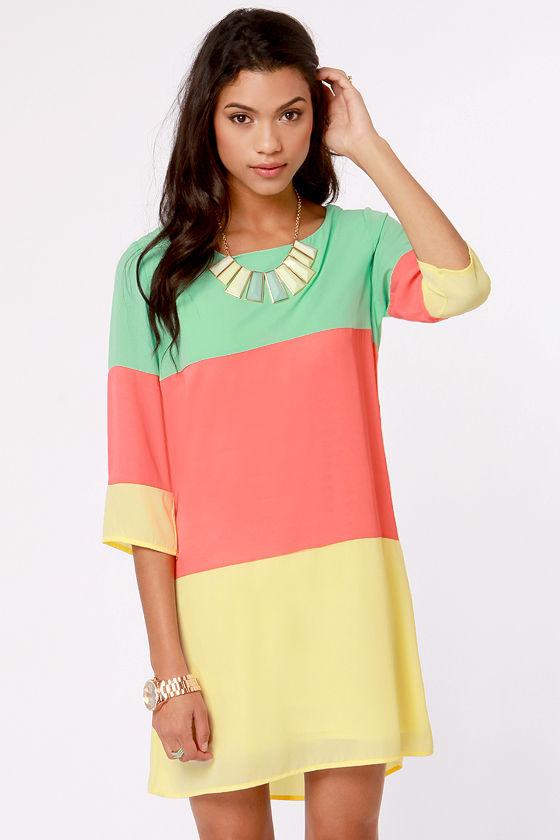 2aeb7d53083a Cute Coral Color Block Dress - Shift Dress