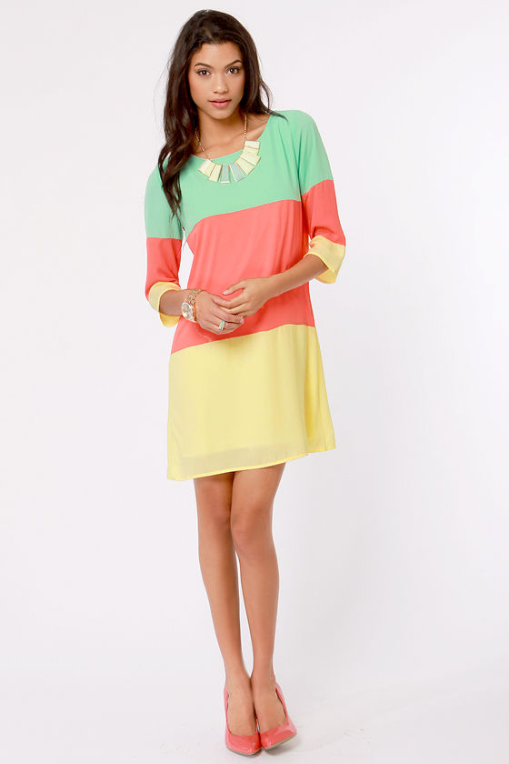 Citrus Grove Coral Color Block Shift Dress at Lulus.com!